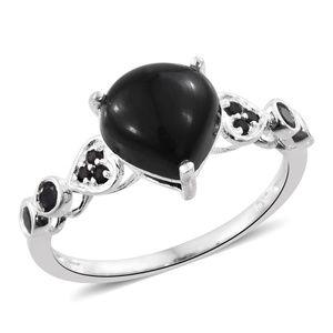 Black Onyx, Thai Black Spinel Sterling Silver Hear